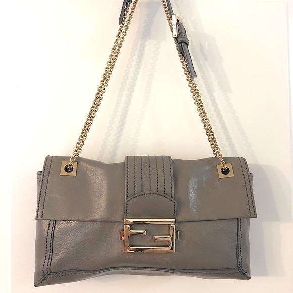 100% Authentic Fendi Baguette Grey Leather handbag